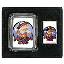 Pirate Cat ARRRR!!! Funny Cute Square Glass AshTray and Oil Lighter Set