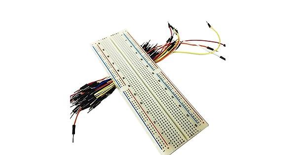 Soldadura prototipo Protoboard De 170 Puntos 65 Jumper Cables-Electrónica