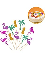 OUNONA Cake Tooper Flamingo Pineapple Coconut Tree Cake Picks for Beach Party 12 Counts