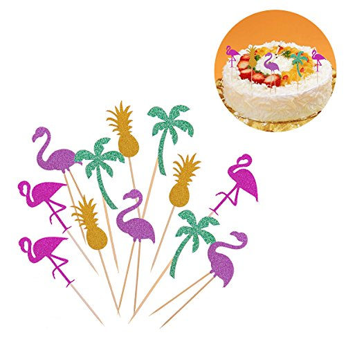 BESTOYARD-Cupcake-Toppers-Cake-Tooper-Flamingo-Pineapple-Coconut-Tree-Cake-Picks-for-Birthday-Baby-Shower-Wedding-Hawaii-Luau-Beach-Party-Decorations-12pcs