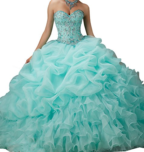 Elley Women's Sweetheart Beading Sweet 16 Formal Strapless Backless Formal Prom Ball Gown 2015 Quinceanera Dress Mint US12