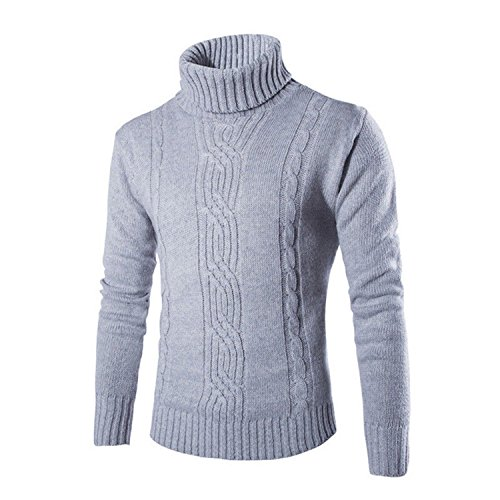 Heritage Long Sleeve Thermal Tops - Gome-z Men's Thermal High Collar Turtle Neck Skivvy Long Sleeve Sweater Stretch Warm Winter Pullovers Thick Clothes Gray M