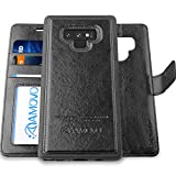 AMOVO Case for Galaxy Note 9 [2 in 1] Samsung Galaxy Note 9 Wallet Case [Detachable Folio] [Vegan Leather] [Wrist Strap] [Card Slot] [Kickstand] Note 9 Flip Case with Gift Box Package (Note 9, Black)