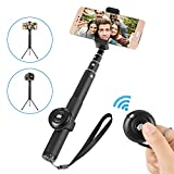 Bluetooth Selfie Stick,Siroflo 2 in 1 Mini Pocket Extendable Monopod with Separable Wireless Remote,180 Degree Rotatable Device Holder,23.5CM Folded Size,Up To 92cm Extension Length,Wireless Selfie Stick Tripod for iPhone, iPod, Samsung, LG, Huawei Galaxy