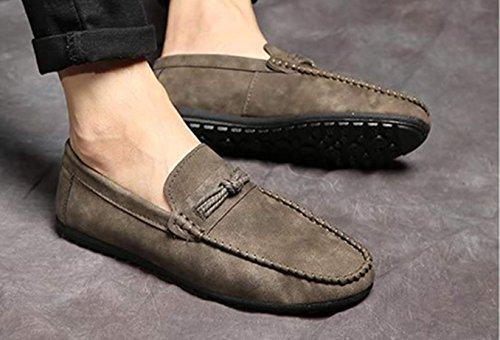 allacciano scarpe formato particolare taglia pelle casual Mocassini in di Grigio da uomo le dimensioni in grandi Bebete5858 di grande gS7q6q