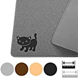 Cat Litter Mat By Smiling Paws Pets, BPA Free, XL Size 35'x23.5', Non-Slip - Tear & Scratch Proof, Easy to Clean Kitty Litter Catcher with Scatter Control (Extra Large Gray)