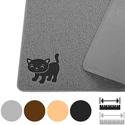 Smiling Paws Pets Cat Litter Mat, BPA Free, XL Size 35″x23.5″, Non-Slip – Tear & Scratch Proof, Easy to Clean Kitty Litter Catcher with Scatter Control (Extra Large Gray)