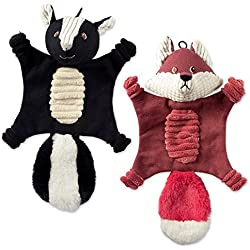 Bone Dry DII Flat Body Squeaking Pet Toy, 2 Pieces Bella Fox & Sasha Skunk, Crinkle Noise Woodland Friends Toy for Small, Medium and Large Dog