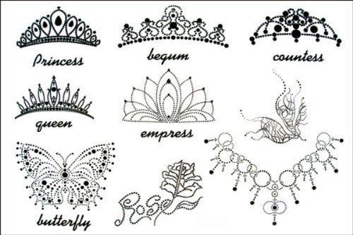 2012 latest new design hot selling Men and women waterproof temporary tattoo female Crown tattoo stickers by YM-K by YM-K