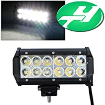YINTATECH 1X 36W LED Light Bar 6 Inch Dual Row 12 LEDs Spot Work Light Bar For ATV 4x4 Jeep Offroad Tractor Marine Truck ATV SUV Boat Driving Lamp