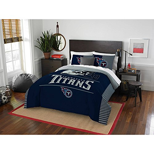 (Northwest NFL Tennessee Titans Ultimate 10pc Ensemble: Includes full/queen comforter, 2 shams, full flat sheet, full fitted sheet, 2 pillowcases, rug, toss pillow, and oversized throw)