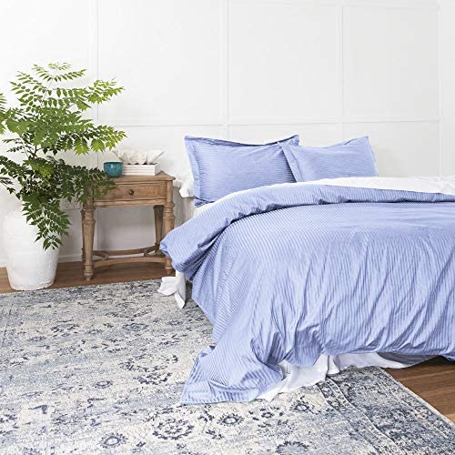 Duvet Cover Lavender Queen, Classic Damask Pinstripe Pattern, 100% Long Staple Cotton 400TC with Silky & Luxury Sateen Woven, Cool & Breathable, Luxury Royal Hotel Style Clean Look Duvet Cover