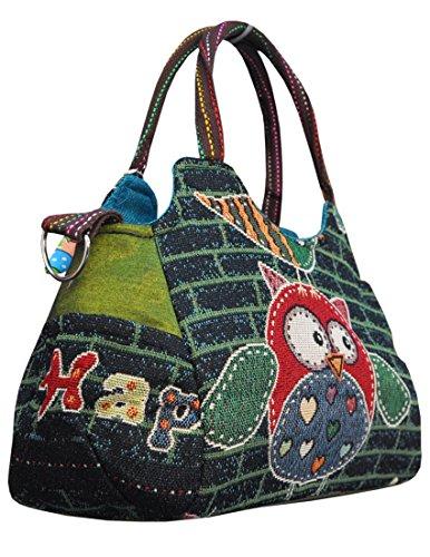 Magnifica borsetta importata da Tailandia, multicolore, motivi Gufi (42243)