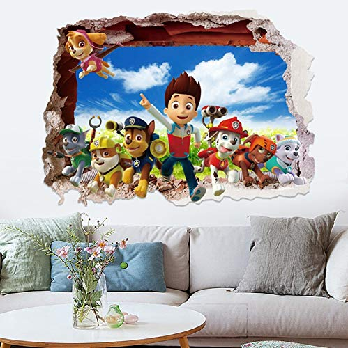 Amazon.com: JEWH 3D Dogs Cartoon Wall Stickers tv Patrol Wall Decals adesivos de paredes pawed Animal Mural Creative DIY for Kids Rooms Decor: Home & ...