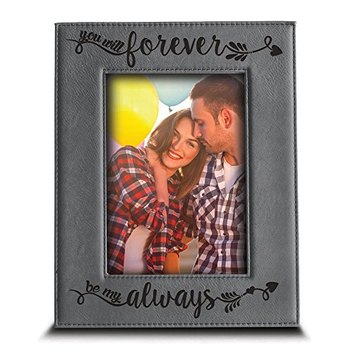 (BELLA BUSTA - You Will Forever, be My Always Picture Frame - Engraved Leather Frame Gift for Couple (5