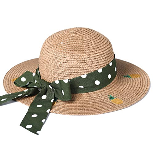 (accsa Toddler Kid Girl Straw Floppy Brim Panama Fedora Sun Hat Beach Summer UPF Protection Foldable Pineapple Brown Age 5-8Y)