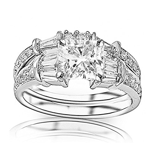 Diamond Band Brilliant Round Baguette (1.25 Ctw 14K White Gold Baguette Round GIA Certified Diamond Engagement Ring Wedding Bridal Band Set Cushion Cut (0.5 Ct F Color SI1 Clarity Center Stone))
