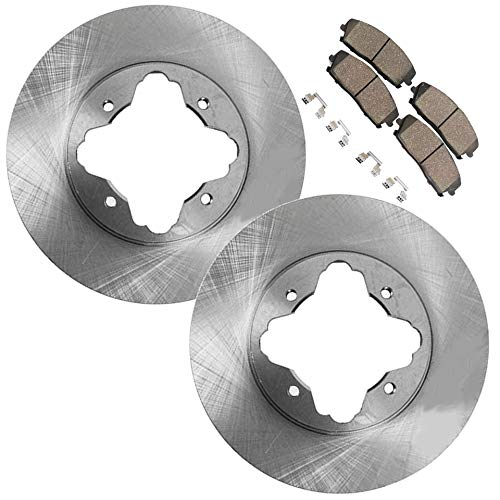 95 96 Front Brake Rotors - Detroit Axle - Front Brake Rotors & Ceramic Pads w/Clips Hardware Kit Premium GRADE for 97 Acura CL 2.2L - [91-94 Accord w/Akebono Calipers] - 95-97 Accord 2.2L - NO WAGON MODELS