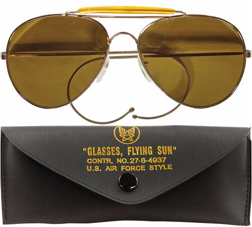 Brown Lenses Air Force Style Aviators Sunglasses With Case