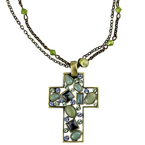 Green Crystal Cross Necklace - Vintage Style Cross Necklace with Blue and Green Crystals Double Chain