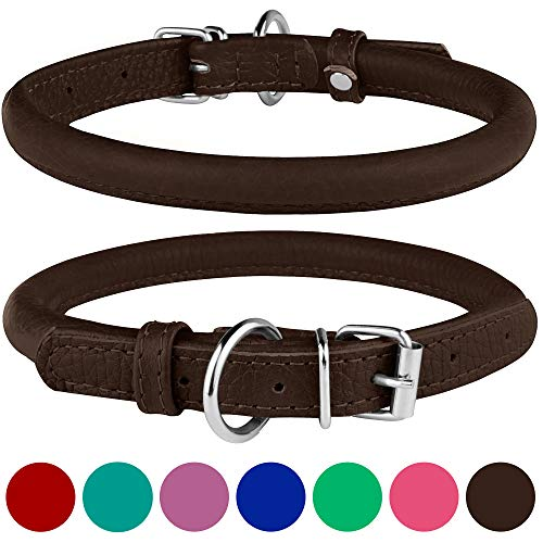 BronzeDog Rolled Leather Dog Collar Round Rope Pet Collars for Small Medium Large Dogs Puppy Cat Red Pink Blue Brown Rose Green (Neck Size 19'' - 21'', Brown)