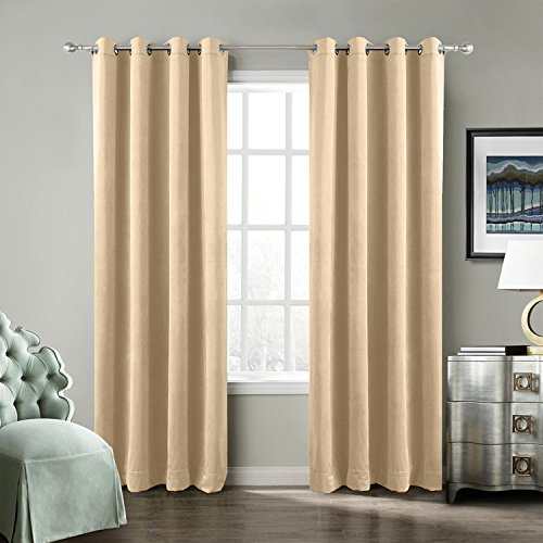 TWOPAGES 52 W x 102 L Grommet Room Darkening Velvet Curtain with Blackout Lining Drapery Panel For Traverse Rod Or Track, Living Room Bedroom Meetingroom Club Theater Patio Door (1 (120' Drapery Panel)