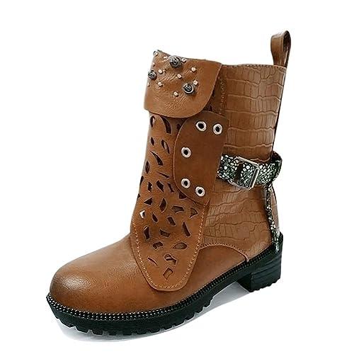 Minetom Stivali Donna Scarpe da Moda Autunno Inverno retrò Pelle Casual  Ankle Boots Stivaletti Tacchi Bassi Stivali da Moto  Amazon.it  Scarpe e  borse 986f8809ce2
