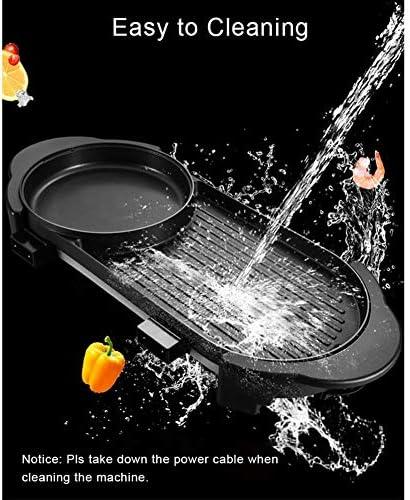 FDSAG Portable Électrique Barbecue Gril, 2200W Intérieur Et Extérieur Shabu Hot Pot avec Barbecue Poêle Antiadhésive Plaque De Cuisson pour 2-12 Personnes Rassemblements