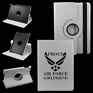 IPad Mini PROUD AIR FORCE GIRLFRIEND Leather Rotating Case 360 Degrees Multi-angle Vertical and Horizontal Stand with Strap (White)