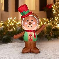 Decoración navideña de inflado con pan de jengibre LED navideño de Holiday Time de Gemmy (simple)