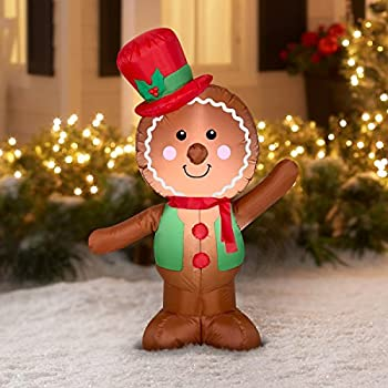 holiday time christmas inflatable led gingerbread man airblown decoration by gemmy simple - Gingerbread Christmas Decorations