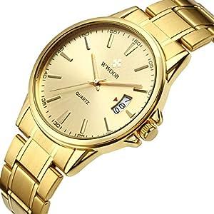 Luxury Men's Gold Toned Analog Quartz Watches Waterproof Stainless Steel Classic Design Calendar Wrist Watch
