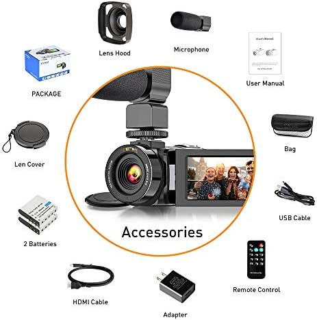 "Video Camera Camcorder FHD 1080P 30FPS 26MP YouTube Vlogging Camera IR Night Vision WiFi 3.0"" Touch Screen 16X Digital Zoom Digital Camera Video Recorder with Microphone Remote Control Lens Hood"