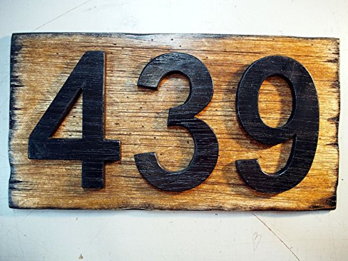Custom Address Plaque | Rustic House Address Signs | Made of distressed Wood | House numbers, address sign, cabin, cottage, housewarming gift (Door Sign Satin)