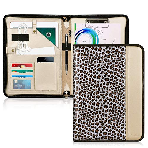 Toplive Zippered Padfolio Portfolio Case,Executive Business Conference Folder Document Organizer with Letter/A4 Size Clipboard, Business Card Holder,Leopard ()