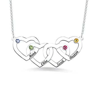 65496ff24cf72 Personalised Engraved Name Necklace Four Hearts Birthstones Necklace ...