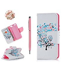 iPod Case iPod Touch 6 Case -MOLLYCOOCLE Stand Wallet Purse Credit Card ID Holders Magnetic Design Flower with Tree Premium PU Leather Ultra Slim Fit Flip Folio Cover for iPod Touch 6 6th Generation