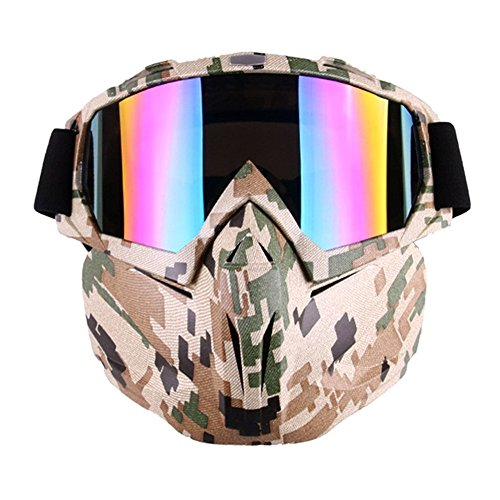 Ubelly Motorcycle Goggle Mask - Tactical Glasses with Detachable Mask for Airsoft/CS/Desert Offroad Riding Cycling Halloween Costume -