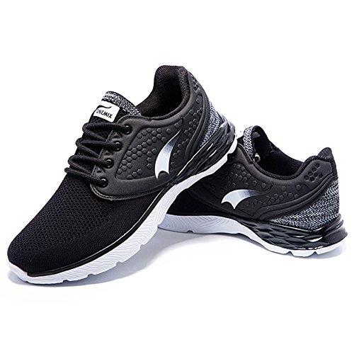 Onemix Hombres Casual Transpirable Con Cordones Zapatilla De Malla Suave Suela Zapatos Deportivos Negro / Blanco