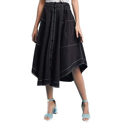 FSDFASS Faldas Faldas de Mujer Moda de Verano Sólido Negro Top ...