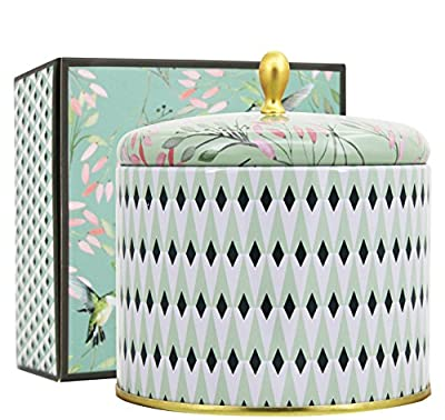 LA JOLIE MUSE Scented Candles 14Oz Aromatherapy Natural Soy Wax Large Tin Candle 2 Wicks, White Tea, Gift Candle for her