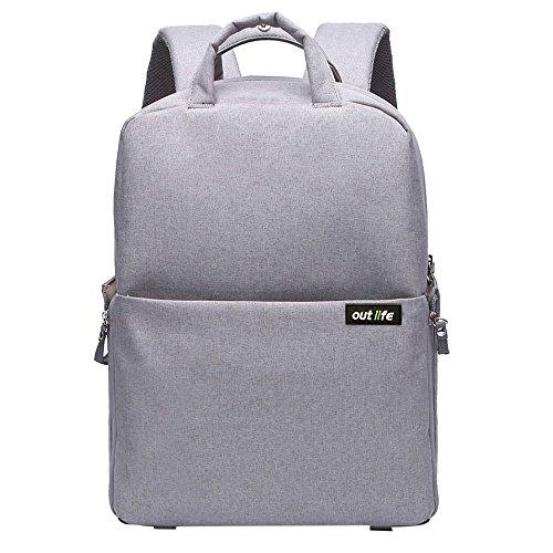 Olympus E-system Travel Bag (Camera Bag, Outlife Dslr Backpack Camera Backpack Laptop Shoulder Bag Nylon Waterproof Cover Shockproof Daypack Gray for Canon Nikon Olympus Pentax)
