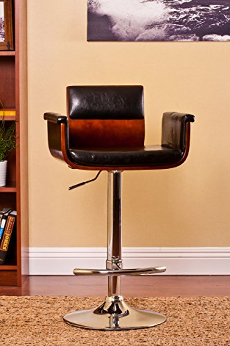 Bentwood Adjustable Swivel Barstool Cherry Wood Finish And Shiny Black Polyurethane And Chrome Base with Curved Seat And Back