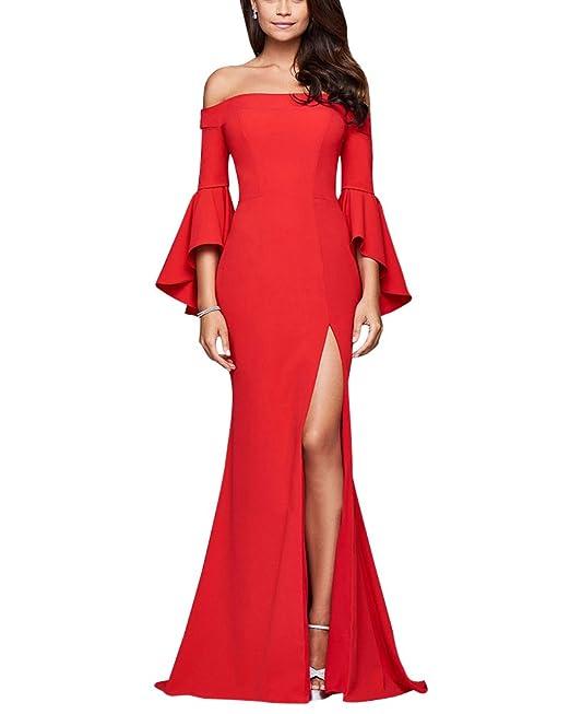 321a4ca40724 Vestito Donna Abito Elegante Mezza Manica Casuale Cocktail Abiti Sera Lunghi  Rosso XL  Amazon.it  Abbigliamento