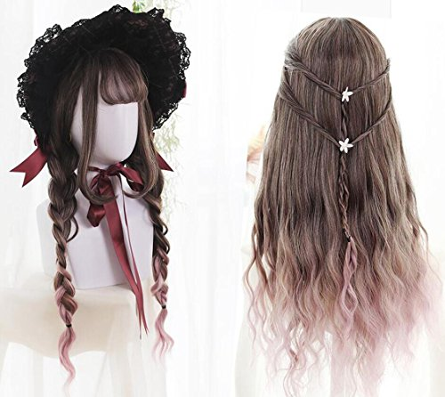 Make Your Own Wiggles Costume (Ombre Lolita Wigs Highlights 2 Tones Brown Mixed Pink 65CM Long Fluffy Body Wave Synthetic Wig Realistic Natural Colored Hair Wigs With Air Bangs Cosplay Custom Daily Party Wig + Wig Cap)