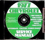 1977 CHEVROLET REPAIR SHOP And SERVICE MANUAL CD - Includes Impala, Caprice, Camaro, Corvette, Malibu and Classic, Landau, Monte Carlo, Nova, Concours, El Camino
