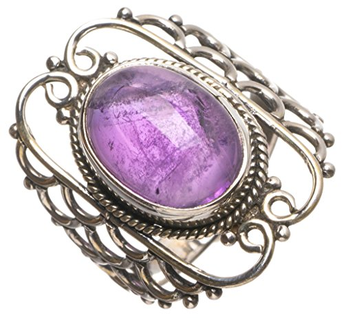 (Natural Amethyst Handmade Mexican 925 Sterling Silver Ring, US Size 7 T5343)