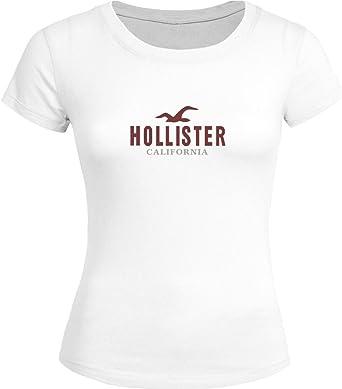 DIY Hollister Tops T shirts - Camiseta - para Mujer Blanco Blanco X-Large: Amazon.es: Ropa y accesorios