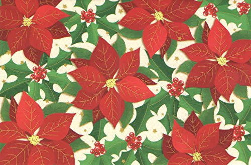 Traditional Christmas Cards ~ Set of 16 Cards and Envelopes (Christmas of Joy - Poinsettia and Holly Berries)