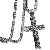hsn_zem Men's Large Vintage Black Silver Tone Stainless Religious Cross Pendant Necklace